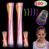"300 Pack Glow Sticks with 100 22"" Necklaces + 200 8"" Bracelets; Connector Included; Glowstick Bundle Party Favors, Glow in the Dark Party Bulk Supplies, Neon Light Up Accessories for Kids and Adults."