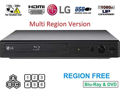 LG BP175 Region Free Blu-ray Player, Multi Region 110-240 Volts, 6FT HDMI Cable & Dynastar Plug Adapter Bundle Package