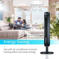 Tower-Fan-42-Inch-Portable-Oscillating-Quiet-Cooling-Fan-with-Remote-Controlled-3-Modes-and-Speed-Settings-Built-in-Timer-LED-Display-Stand-Up-Floor-Fans-Safe-for-Bedroom-Home-Office-Use-Black