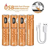 AAA Batteries,USB Rechargeable AAA Batteries 450mAh with USB Ports - High-Capacity Batteries Long-Lasting Power Recyclable Recharge Battery by USB Cable-(4 Count)