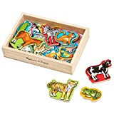"""Melissa & Doug Wooden Animal Magnets (Developmental Toys, Wooden Storage Case, 20 Animal-Inspired Magnets, 8"""" H x 5.5"""" W x 2"""", Great Gift for Girls and Boys - Best for 2, 3, and 4 Year Olds)"""