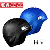 Wigoo Long Hair Swim Cap 2 Pack, 2019 Thicker Design, Waterproof Silicone Swimming Cap for Adult Woman and Men(Black+Blue)