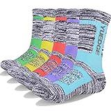 YUEDGE 5 Pairs Women's Moisture Wicking Cotton Cushion Crew Socks for Sports Outdoor Walking Hiking