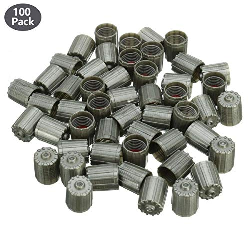 CENTAURUS (Pack of 100) Plastic Gray Tire Valve Stem Caps TPMS Tire Cap Gray Repalcement Replacement for Car Truck