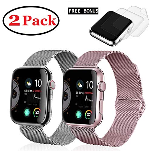 (2 Pack) R&B Watch Band 38mm 40mm Stainless Steel Loop Mesh Strap Compatible for iWatch Apple Watch Series 4 3 2 1 Bands 38mm 40mm - 2xScreen Protector As Gift