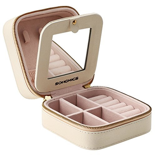SONGMICS Small Jewelry Box Portable Travel Case Organizer for Rings Necklaces, Gift for Girls Women, with Mirror and Double Zipper, Beige, UJBC146BE, 4.4' L x 4.4' W x 2.4' H,