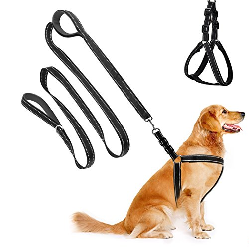 Cropal Dog Leash Harness with Traffic Handle , Reflective, Super Soft, Double Layer and Adjustable Heavy Duty Dog Leash Collar for Medium and Large Dogs