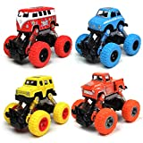 WisToyz Toddler Toys Pull back Cars, 4-Pack Cars Toys Boys Toys, Pull Back Vehicles with Shockproof Spring and Textured Rubber Tires, Friction Powered Cars Toys for Boys Girls Toddler Aged 3 and above