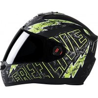Steelbird SBA-1 Free Live Matt Black with Green with Plain visor under Riders Clothing for Motorcycle Driving