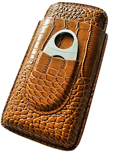 Cigar Case Travel - Cutter Included - Leather Color Light Brown