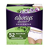Always Discreet Incontinence & Postpartum Underwear for Women, X-Large, 52 Count, Maximum Protection, Disposable (26 Count, Pack of 2 - 52 Count Total)