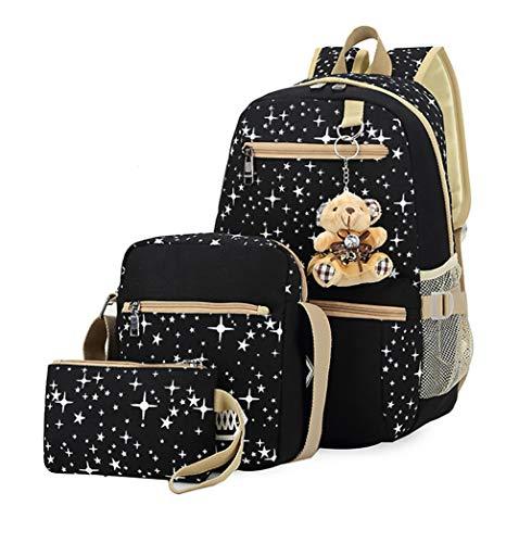 Hylzd Bolsos De Escuela 3Pcs/Set Mujeres Mochila Estrella Impresión Cute Daypacks con Oso para...