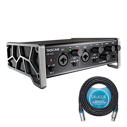 Tascam US-2x2 USB Audio / MIDI Interface -INCLUDES- Blucoil Audio 20' Balanced XLR Cable