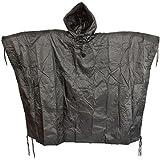Men's US Waterproof Ripstop Hooded Nylon Festival Poncho in Black