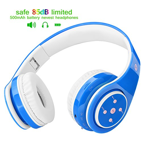 Kids Headphones Bluetooth Wireless 85db Volume Limited Childrens Headset, up to 6-8 Hours Play, Stereo Sound, SD Card Slot, Over-Ear and Build-in Mic Wireless/Wired Headphones for Boys Girls(Blue)