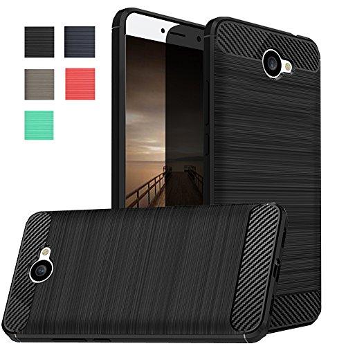 Dretal Huawei Ascend XT 2 Case, Huawei Elate 4G LTE Case, Carbon Fiber Shock Resistant Brusd Texture Soft TPU Phone case Anti-Fingerprint Flexible Protective Cover for Huawei Ascend XT2 H1711 (Black)