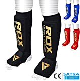RDX Shin Guard MMA Instep Foam Pads Support Boxing Leg Guards Muay Thai Foot Protective Kickboxing (CE Certified Approved by SATRA)