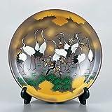 "Japanese drawn Ceramic Porcelain kutani ware with wooden box. Plateau. Big plate. Cranes."" Japanese ceramic Hagiyakiya 1202"