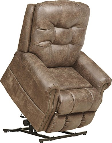 Catnapper Power Lift Full Lay-Out Recliner with Comfort Coil Seating Featuring Comfor-Gel - 'Dual Motor' Comfort Function - Plush Seat - Polyester (Almond) - Weight Capacity 400lb.