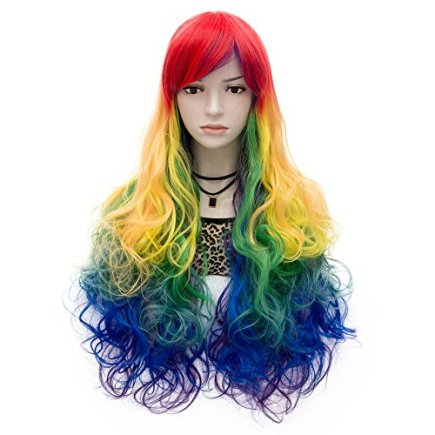 Probeauty-Lolita-Mix-Color-Wigs-Long-Curly-Ponytail-Women-Anime-Cosplay-Wig-Wig-Cap-Rainbow-without-Ponytail