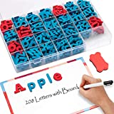 Gamenote Classroom Magnetic Letters kit with Double-Side Magnet Board - Foam Alphabet Letters for Kids Spelling and Learning(208pcs in Box)