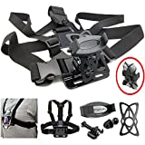 ChargerCity Adjustable GoPro Hero 6 5 4 Session Fusion Black Camera Chest Strap Mount for Apple iPhone XR XS MAX X 8 7 Plus Samsung Galaxy S9 Note w/Phone Holder & Harness Security Strap