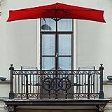 Pure Garden 9' Half Round Patio Umbrella, Red