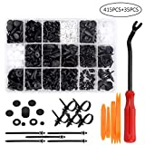 Preciva 450PCS Car Retainer Clips Kit, 18 Common Sizes/ 415pcs Plastic Fasteners Kit with 5 Fasteners Remove Tools,10 Cable Ties, 20 Shock-Proof Sponge Cushions and a Plastic Case