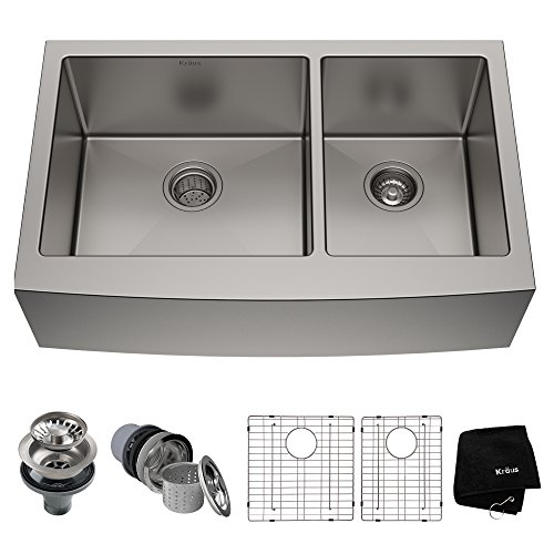 Kraus KHF203-36 36 inch Farmhouse Apron 60/40 Double Bowl 16 gauge...