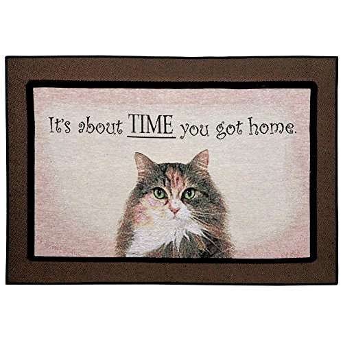 Keke's Home Funny Words Saying It's About Time You Got Home Cat, Polyester Front Door Mat Welcome Doormat for Home, Indoor, Entrance, Kitchen, Patio, Entry, Bathroom,18'X30'