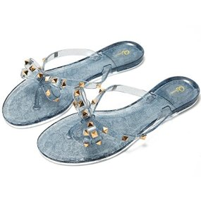 Image result for Qilunn Women Studded Bow Flip Flops Jelly Thong Sandals Rubber Flat Summer Beach Rain Shoes