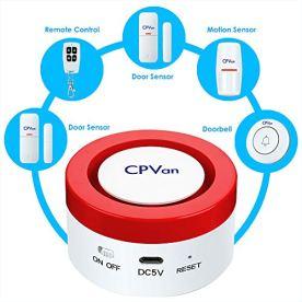 CPVAN-Window-Alarm-Door-Alarms-for-Home-Security-Work-with-Alexa-Wireless-Alarm-Burglar-Alert-Home-Alarm-System-with-PIR-Motion-SensorDoorbell-Remote-Control-Door-Sensor-3-Pack