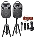 Rockville RPG152K Dual 15' Powered, Bluetooth+Mic+Speaker Stands+Cables