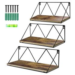 Calenzana Floating Wall Shelves Set of 3 Rustic Wood Storage Shelf for Bathroom Kitchen Living Room Bedroom