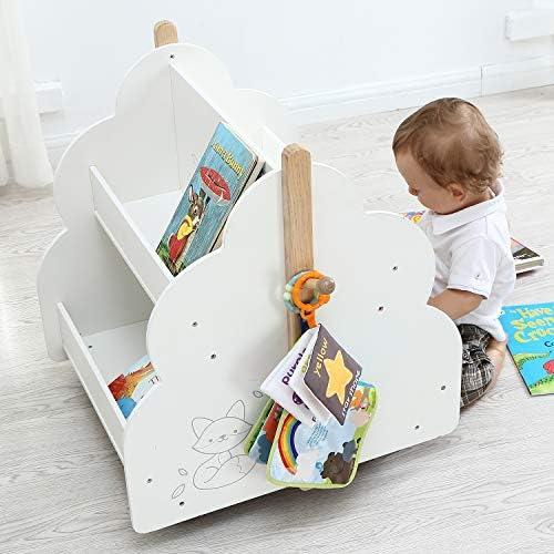 Labebe Baby Wooden Bookshelf, Kids Bookshelf with Wheels for 1 Year Up, Book Rack Wood/Kid Bookcase/Children Bookshelf/Toddler Book case/Children Book Display Self/Infant Book Toy Storage White