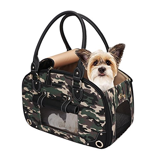 PetsHome Dog Carrier Purse, Pet Carrier, Cat Carrier, Foldable Waterproof Premium Leather Pet Purse Portable Bag Carrier for Cat and Small Dog Home & Outdoor 1
