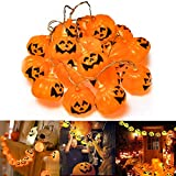 Muscccm Halloween Pumpkin Lights, 20 LED Pumpkin Halloween Decoration Jack o Lantern String Lights Powered Pumpkin Lantern Decor for Indoor/Outdoor Halloween, Party and Christmas