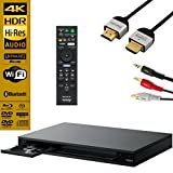 Sony UBPX800 Streaming 4K Ultra HD 3D Hi-Res Audio Wi-Fi and Bluetooth Built-in Blu-ray Player with A 4K HDMI Cable and Remote Control- Black
