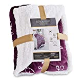RHF Sherpa Blanket w/Words of Warm Hug, Family, Positive Energy Healing Thoughts, Super Soft, Birthday Gifts for Women Men, Gift for Women, Womens Gifts, Mom Birthday Gifts(Throw, Violet)