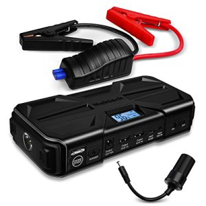 Nekteck 800A Peak 20000mAh Multifunction Car Jump Starter (Jump starts all Gas or 5.5L Diesel Engine) High Capacity Portable Power Bank with Dual USB Charging Output,Built in LED Flashlight,Black