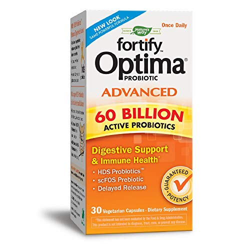 Nature's Way Primadophilus Optima Advanced 60 Billion Active Probiotics Digestive Support & Immune Health, 30 Enteric Coated VCaps (Refrigerate to maintain maximum potency)