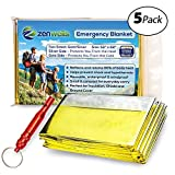 Zenwells Solar Blankets 5 Pack - Mylar Thermal First Aid Blanket for Emergency Survival Kit, Car Tactical Gear, Outdoor, Hiking, Backpack, Travel, Disaster Preparedness Equipment Plus Whistle!