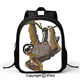 Men and Women Student School Bag Cartoon Like Sloth Bear Tropic Wild Cute Lazy Sleepy Creature Australian Theme Art Backpack :Suitable for Men and Women,School,Travel,Daily use,etc,Grey