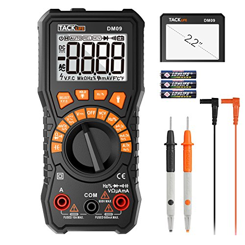 Multimeter, 6000 Counts Tacklife DM09 TRMS Digital Multimeter NCV Detection Amp Ohm Volt Multi Meter, Live Line, Frequency, Resistance, Capacitance, Duty Cycle Tester 2.2inch Large LCD