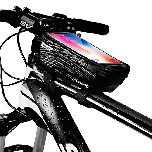 WILD MAN Bike Phone Mount Bag, Cycling Waterproof Front Frame Top Tube Handlebar Bag with Touch Screen Holder Case for iPhone X XS Max XR 8 7 Plus, for Android/iPhone Cellphones Under 6.5'