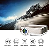 LED HD Home Theater Outdoor Movie Projector 5000 Lumens Full 1080P Support WXGA Multimedia LCD Video Game Projector with HDMI Input USB VGA AV Input Audio out Speakers for iPhone Android DVD TV Laptop