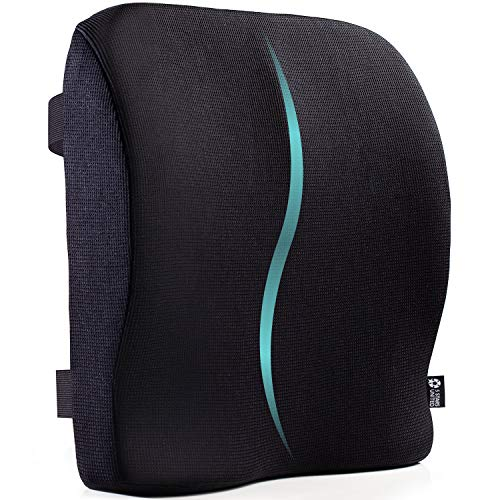 Back Lumbar Support for Office Chair - 15.7'x15.7' Large Pillow for Lower Back Pain - Full Posture Corrector for Car, Wheelchair, Computer and Desk Chairs - 100% Memory Foam Orthopedic Seat Cushion