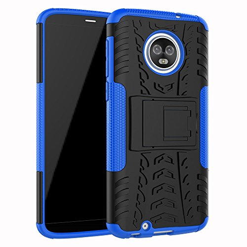 Moto G6 Case, YMH Heavy Duty with Kickstand Full-Body Durable Rugged Armor Bumper Military Grade Drop Test Hard Protective Waterproof Phone Case Cover for Motorola Moto G6 (6th Generation) 5.7 (Blue)