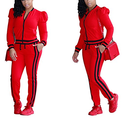 8df7e197da914 HannahZone Womens Casual Long Sleeve 2 Pieces Outfits High Waist Pant  Romper Jumpsuit For Ladies Tracksuit Sets