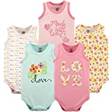 Luvable Friends Unisex Baby Sleeveless Cotton Bodysuits, Love 5 Pack, 0-3 Months (3M)